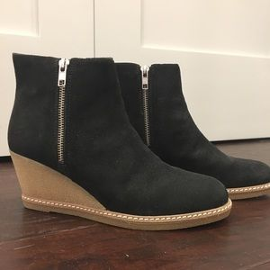 J Crew Black Suede Leather Wedges - 9